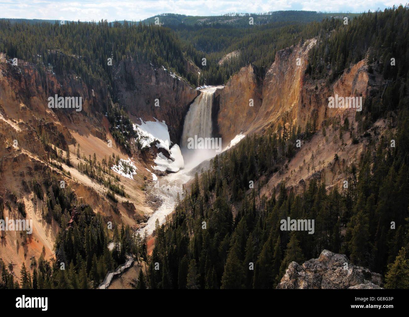 Lower Falls Río Yellowstone. Imagen De Stock