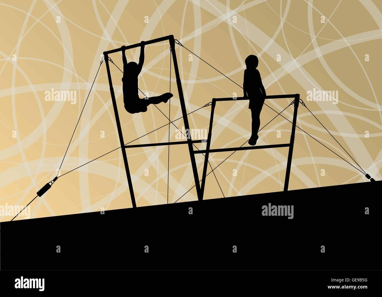 a1aa811fd898 Los niños activos deporte siluetas en barras asimétricas resumen  antecedentes vectoriales ilustración Imagen De Stock