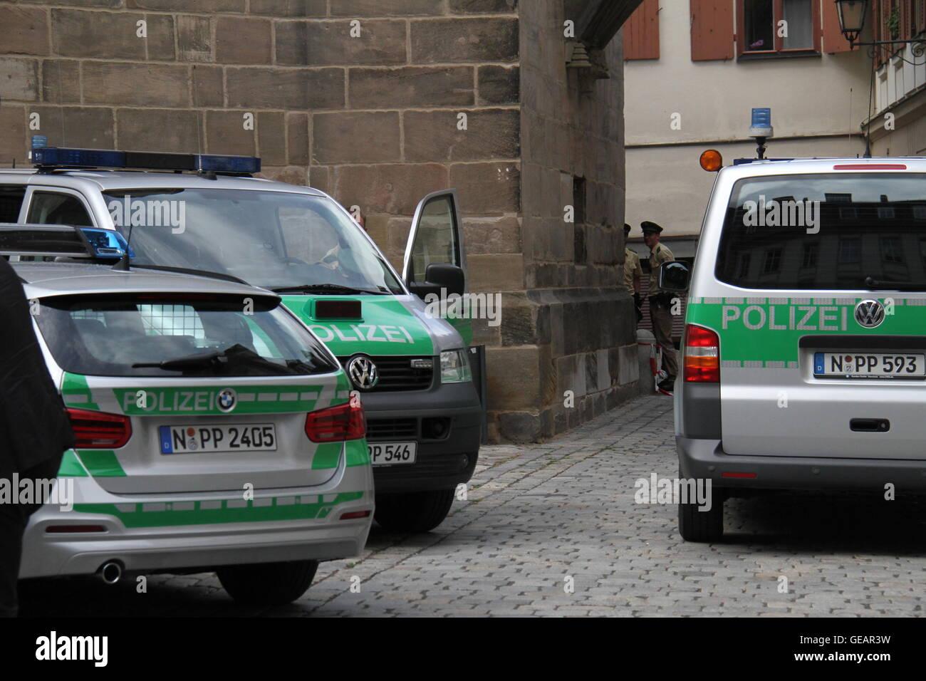 Ansbach, Alemania. El 25 de julio de 2016. La policía obturar la explosión en Ansbach, Alemania, 25 de julio de Foto de stock