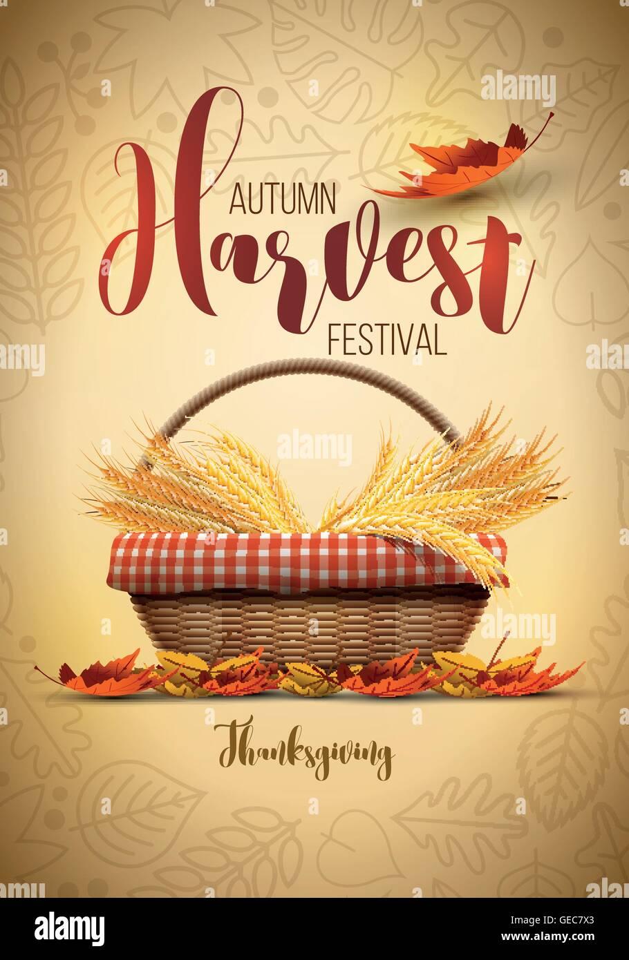 Festival de la cosecha de otoño Vector Poster Plantilla de diseño. Los elementos están organizados en capas por separado en archivo vectorial. Ilustración del Vector