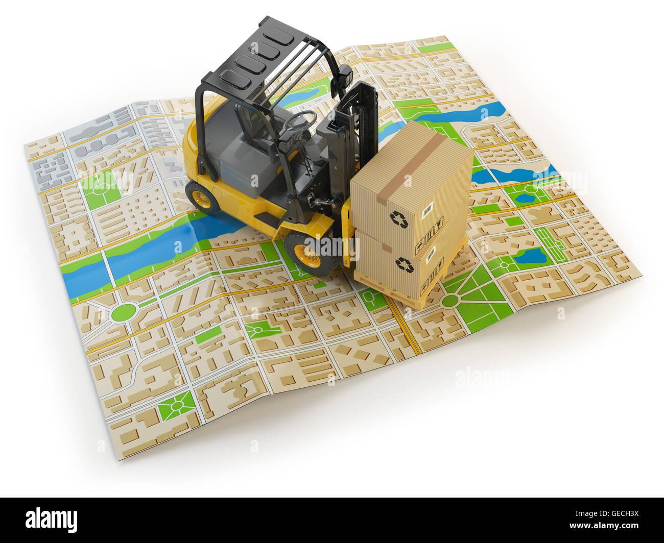 Carretilla elevadora con cajas de cartón en el mapa de la ciudad aislado en blanco. Concepto de entrega de Imagen De Stock