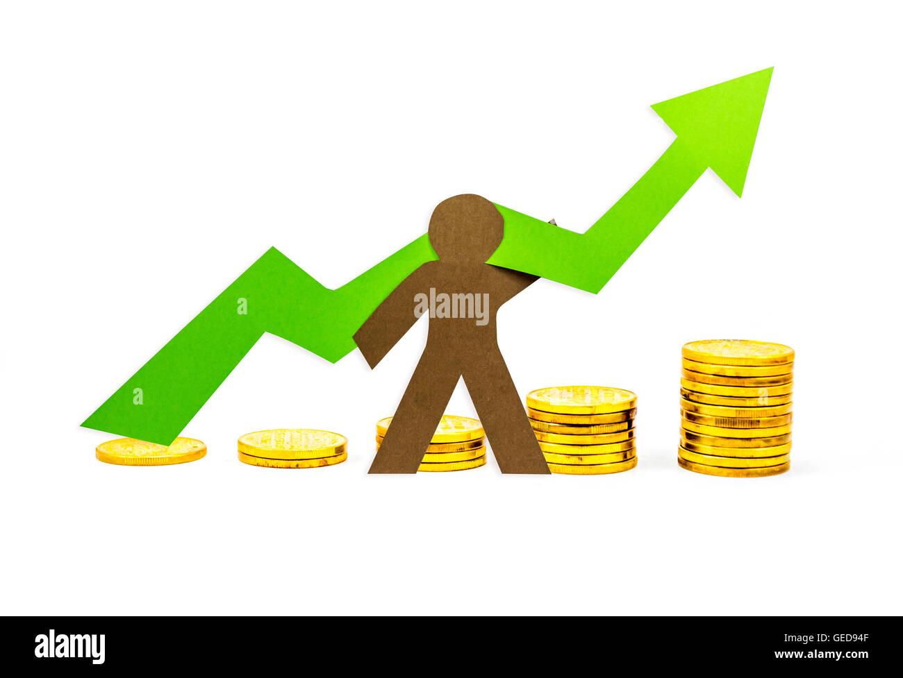 Gráfico monetario hacia arriba con una persona apoyando Imagen De Stock