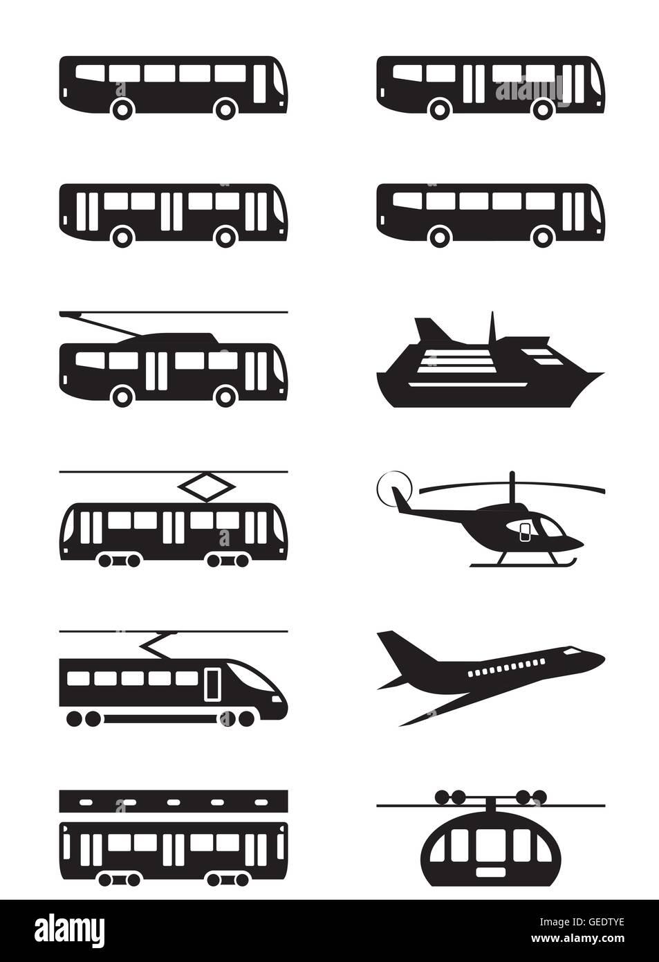 Los vehículos de transporte de pasajeros - ilustración vectorial Imagen De Stock