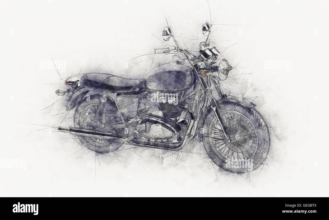 Dibujo A Lápiz Irregular De Una Moto Con Líneas Guía Y Mancha Gris O