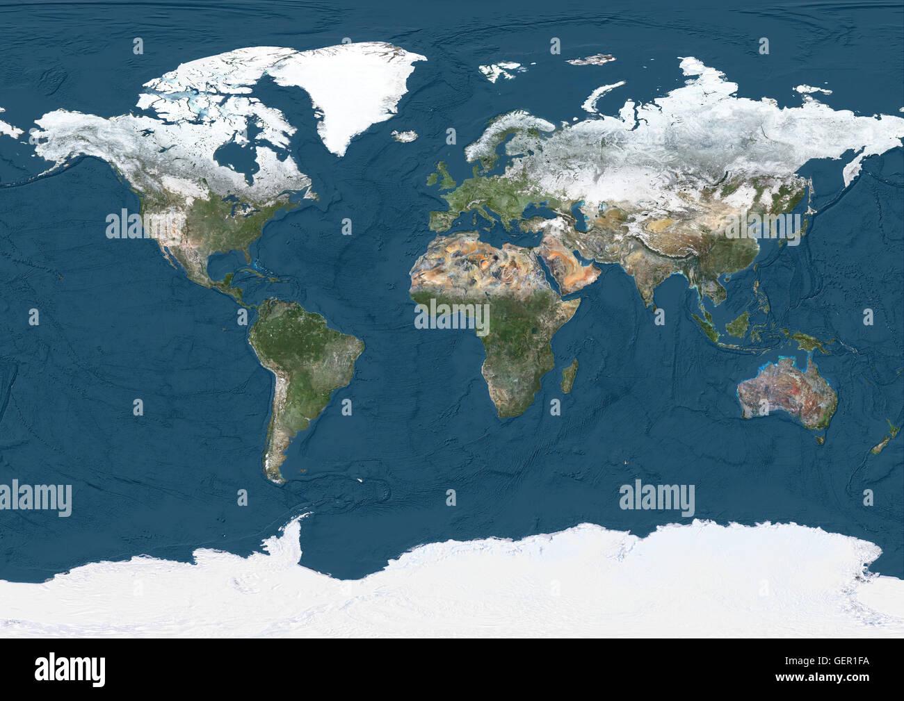 Mapa satelital mundial en invierno, con nieve y parcial muestra profundidades oceánicas. Esta imagen fue compilado a partir de datos adquiridos por los satélites Landsat 7 y 8. Foto de stock