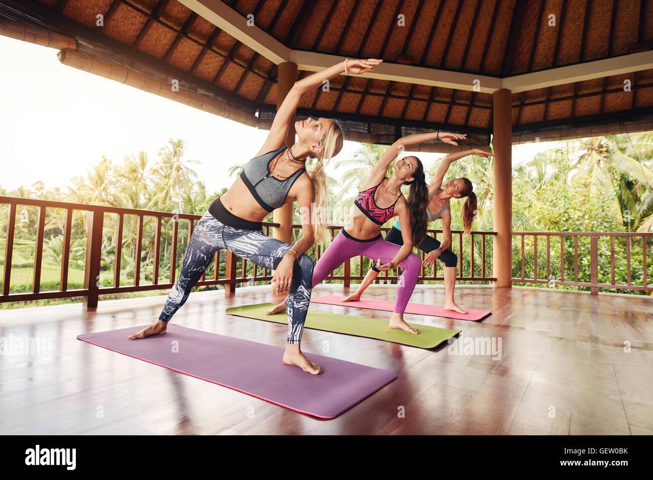 Foto de jóvenes mujeres de pie sobre la colchoneta de ejercicios con sus manos levantadas. Grupo de hembras Imagen De Stock