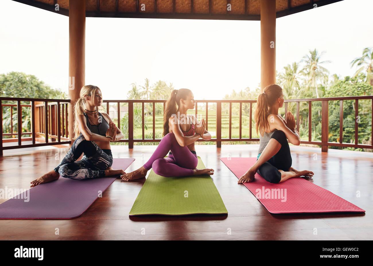 Las mujeres jóvenes saludables practicando media torsión vertebral yoga. Grupo de mujeres haciendo yoga Imagen De Stock