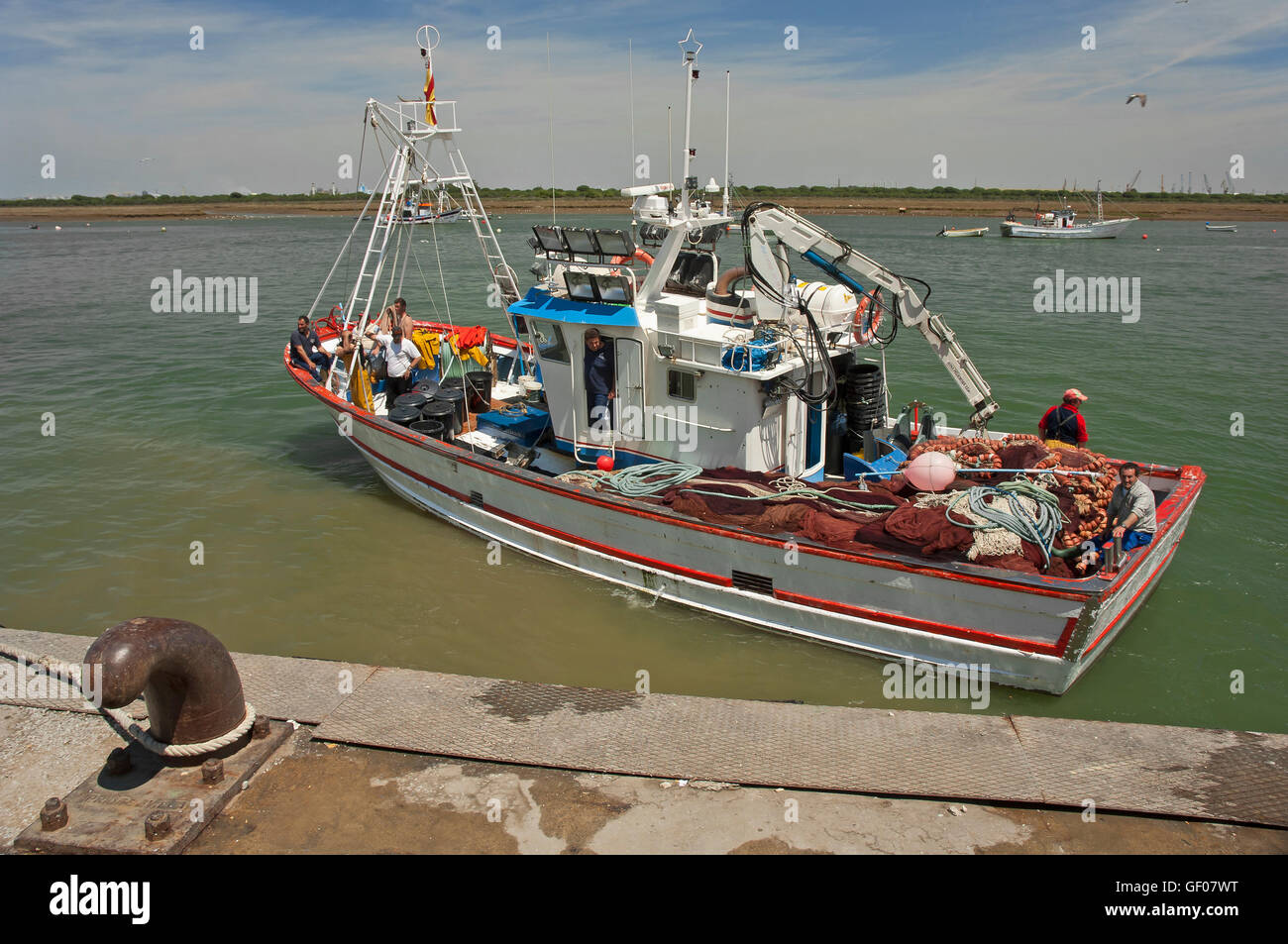 Puerto pesquero, Punta Umbría, Huelva, provincia, región de Andalucía, España, Europa Foto de stock