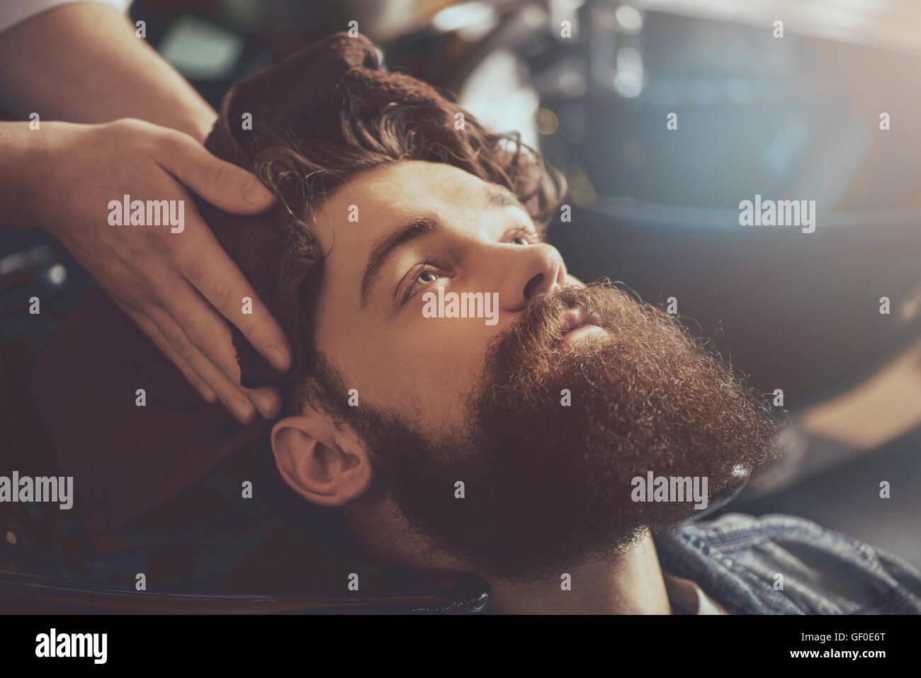 La moderna industria de peinado Foto de stock