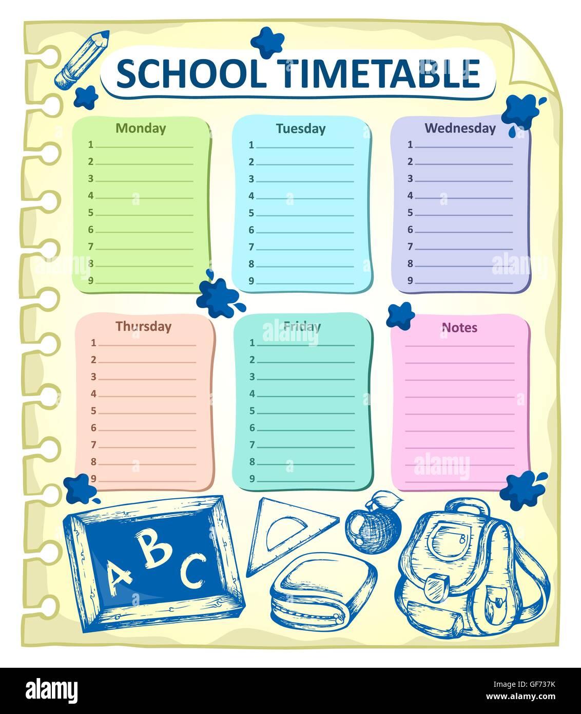 Calendario Academico Us.Calendario Escolar Semanal Tema 4 Ilustracion Ilustracion Foto