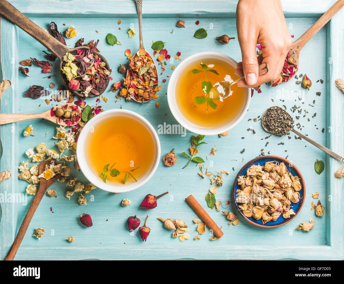 Dos tazas de té de hierbas saludables con menta, canela, rosa, flores secas de manzanilla en las cucharas y la mano del hombre sujetando una cuchara Foto de stock