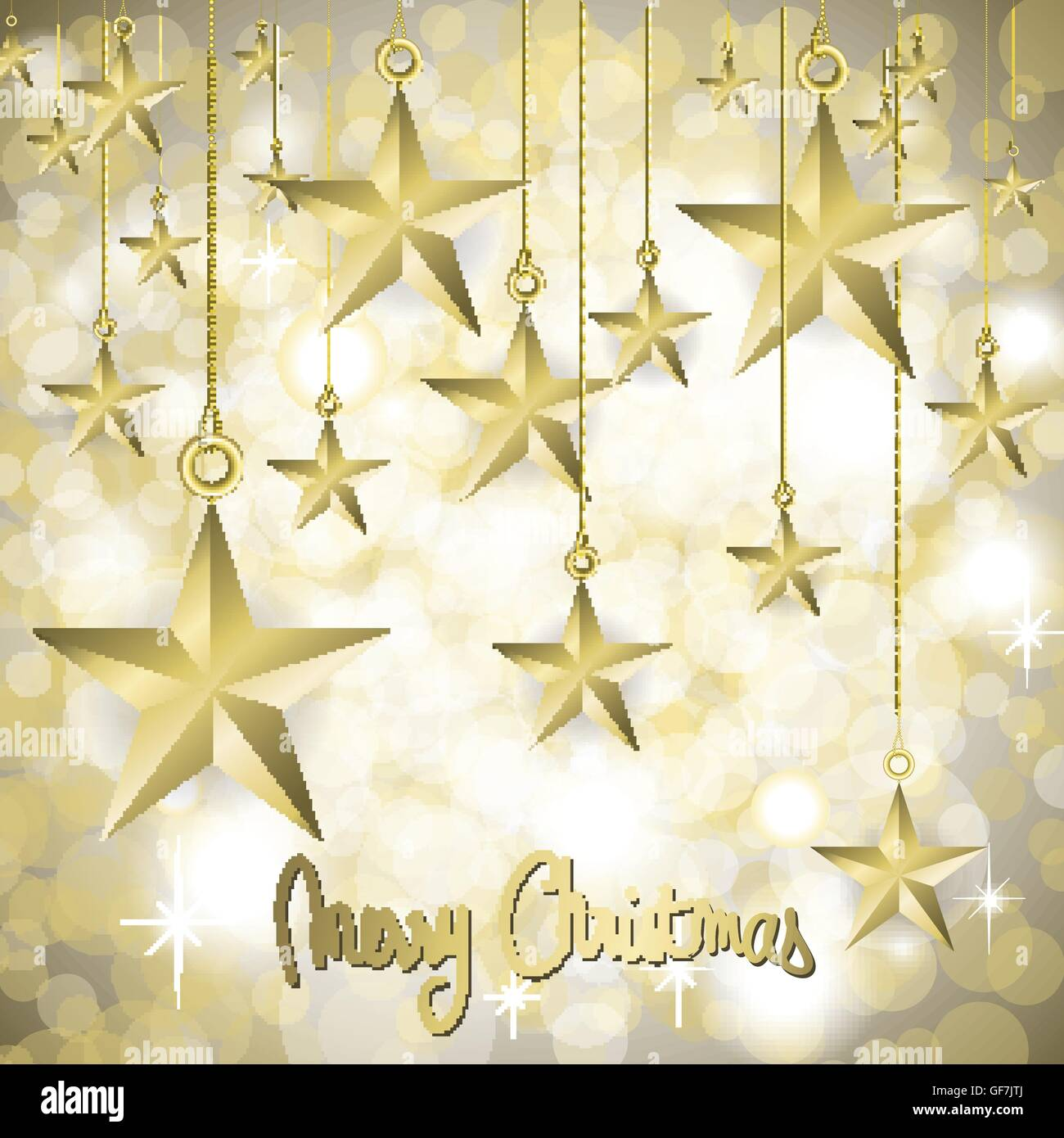 Navidad Tarjeta Estrellado Con Bonitas Estrellas Doradas Ilustración