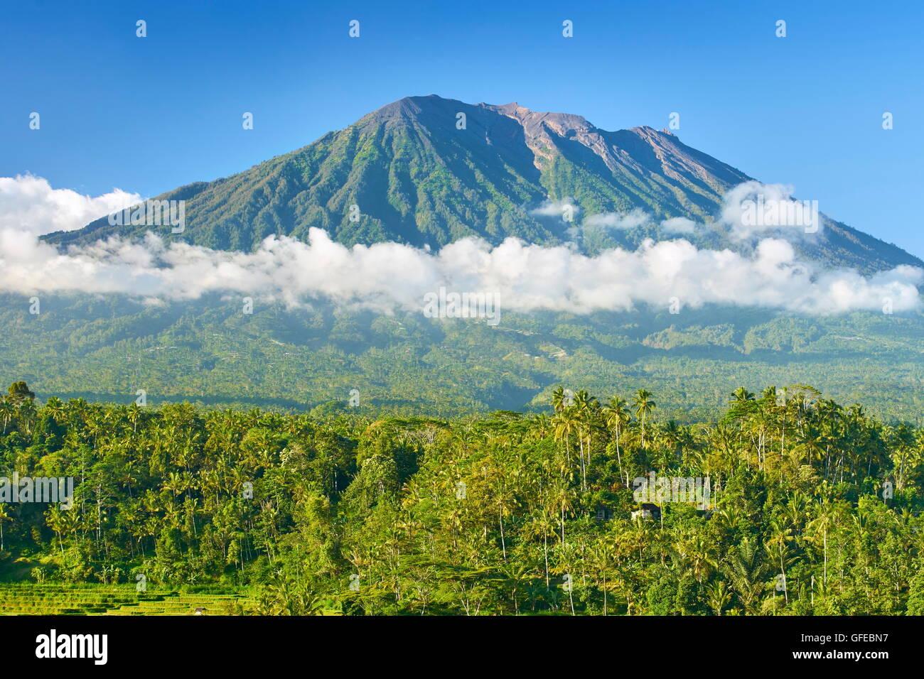 El paisaje del Volcán Gunung Agung, Bali, Indonesia Imagen De Stock