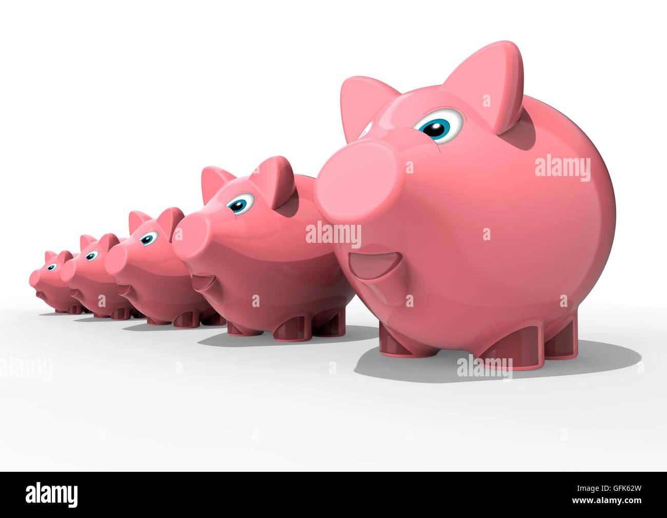 3D Render imagen de una fila de hucha que representa un crecimiento personal Imagen De Stock