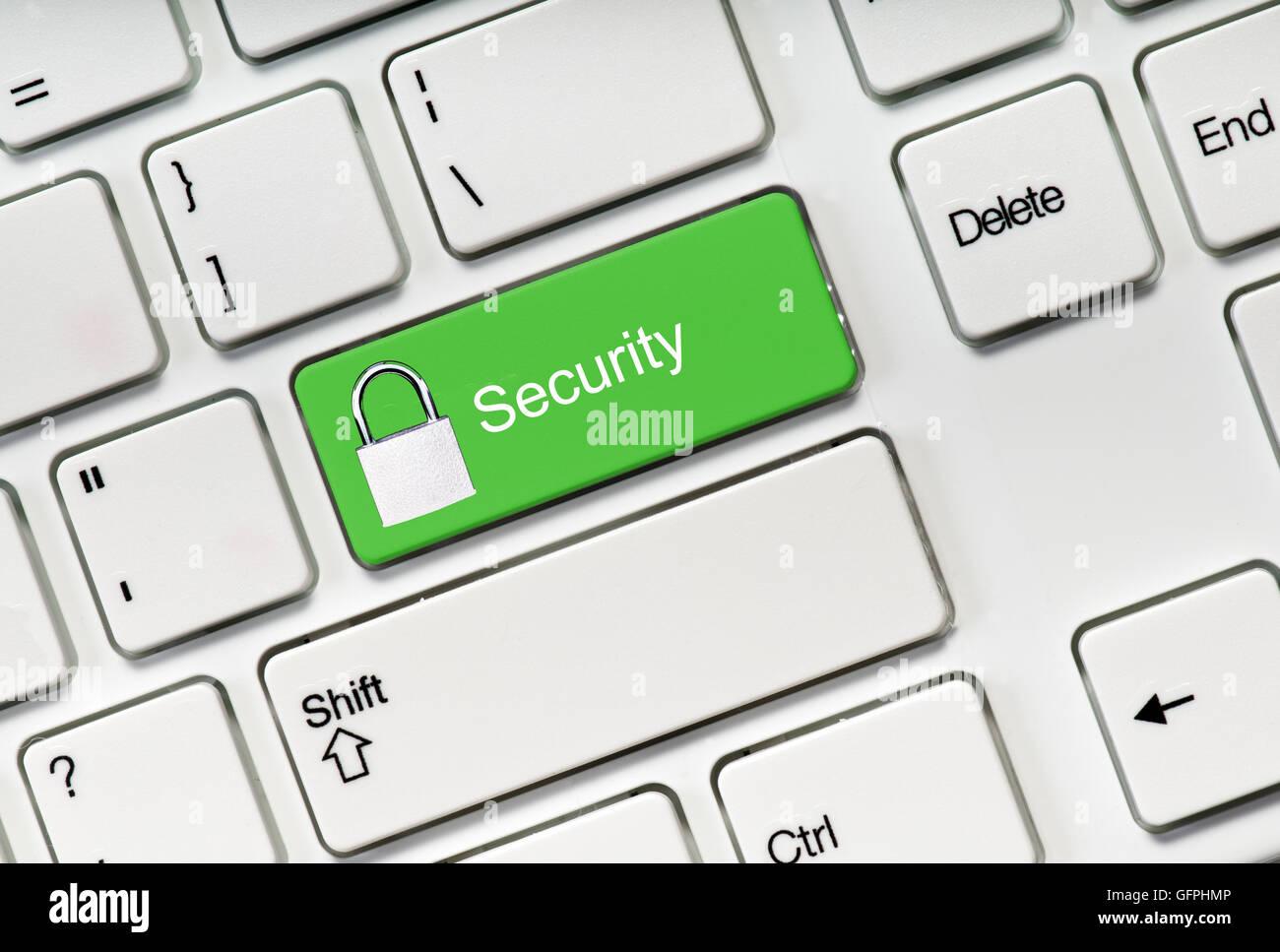 Botón de seguridad en el teclado. Concepto de Net Safety Imagen De Stock