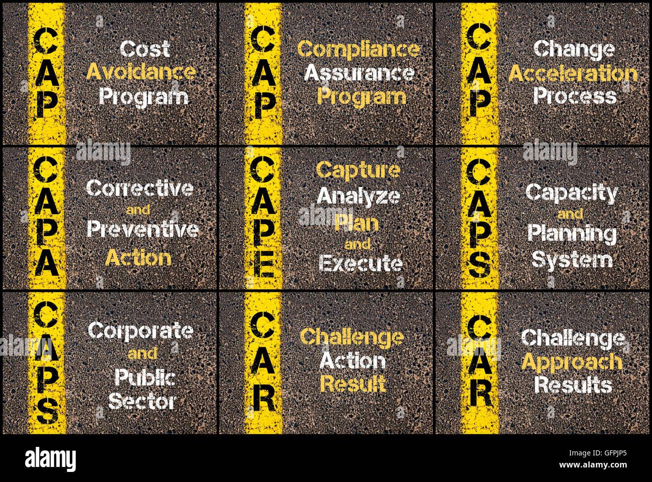Collage fotográfico de acrónimos de negocios escrito a través de la señalización de la línea de pintura amarilla. Foto de stock