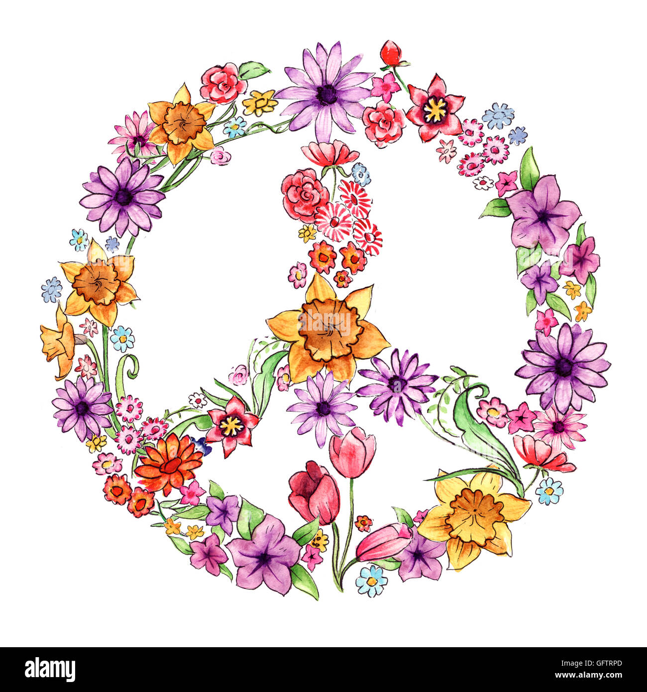 Flores pintados a mano y organizados en la forma de un símbolo de la paz Imagen De Stock