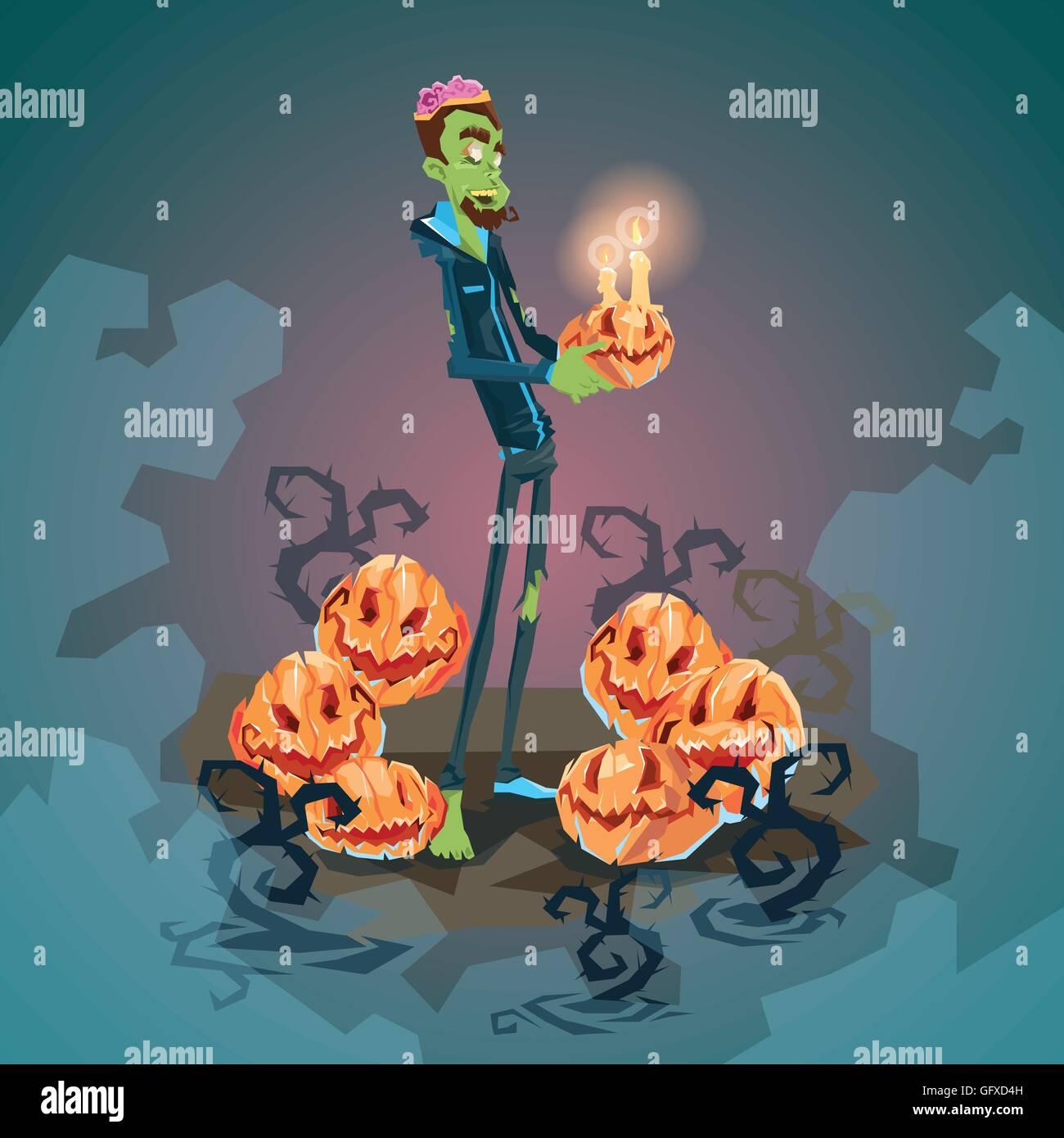 Feliz Halloween Tarjeta De Invitación De Banner Zombie