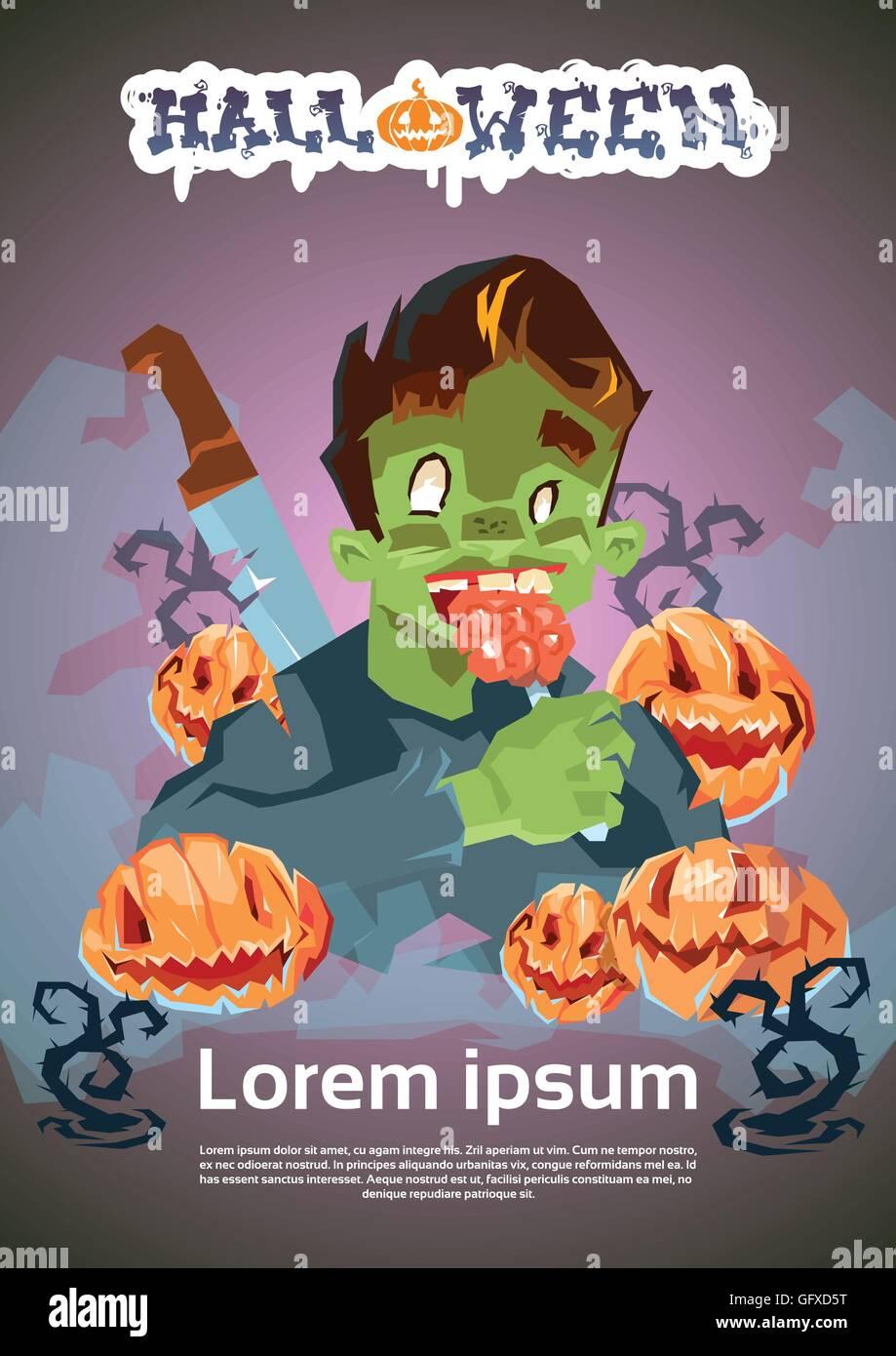Feliz Halloween Tarjeta De Invitación De Banner Zombie Man