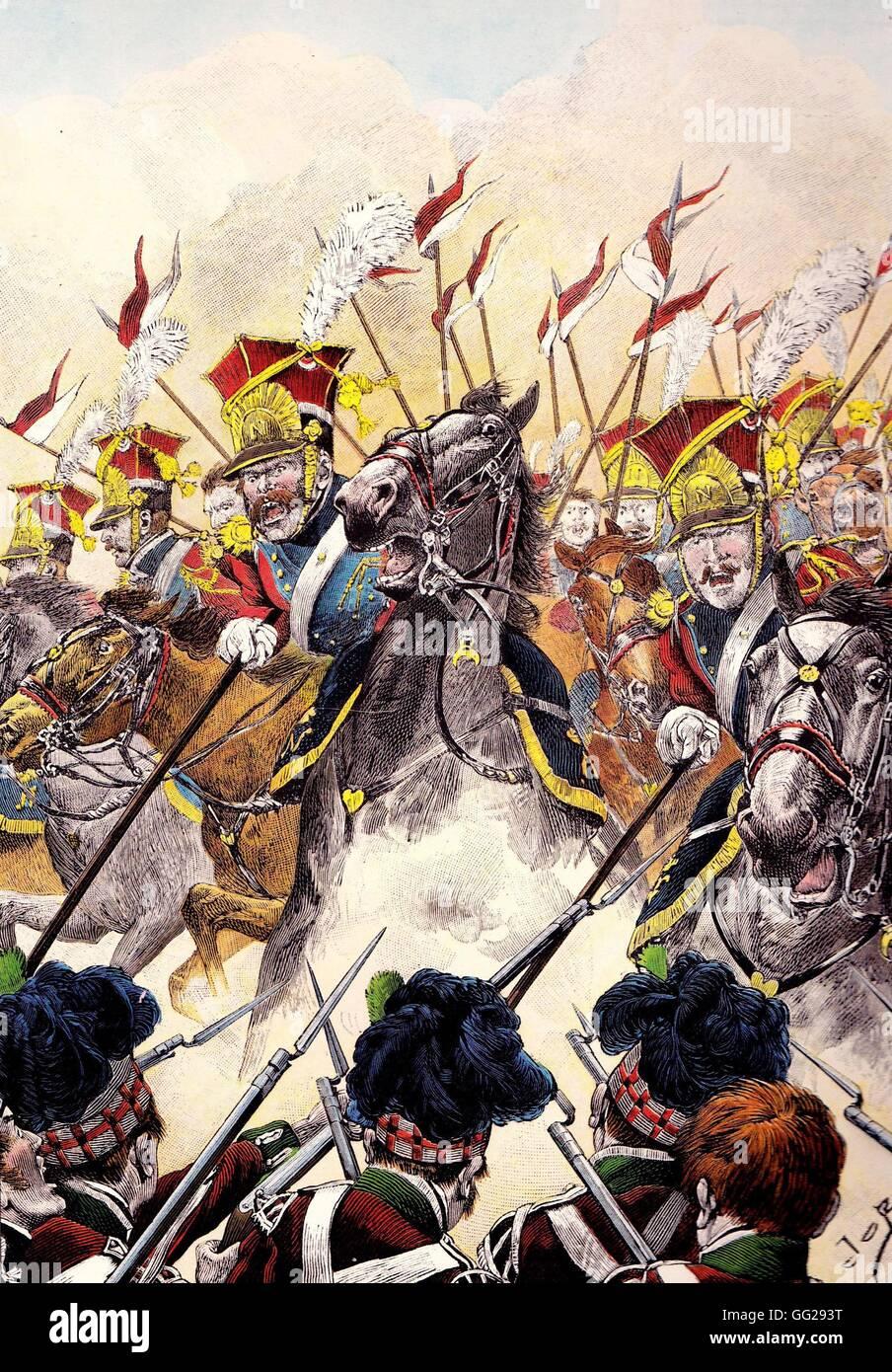 El ataque del 2º regimiento de caballería ligera de la Guardia Imperial lancers durante la Batalla de Imagen De Stock