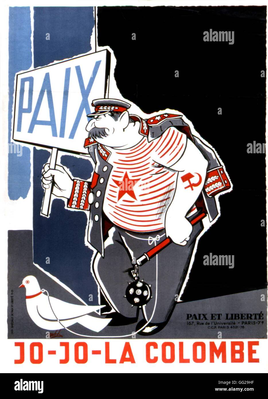 """Cartel del movimiento """"Paz y Libertad"""". Caricatura satírica sobre Stalin y sus propuestas para la Imagen De Stock"""
