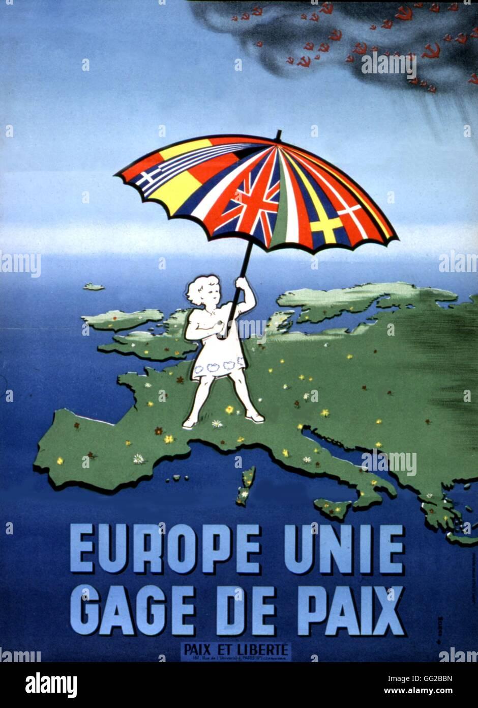 """Cartel del movimiento """"Paz y Libertad': propaganda anticomunista durante la guerra fría, la Europa Imagen De Stock"""