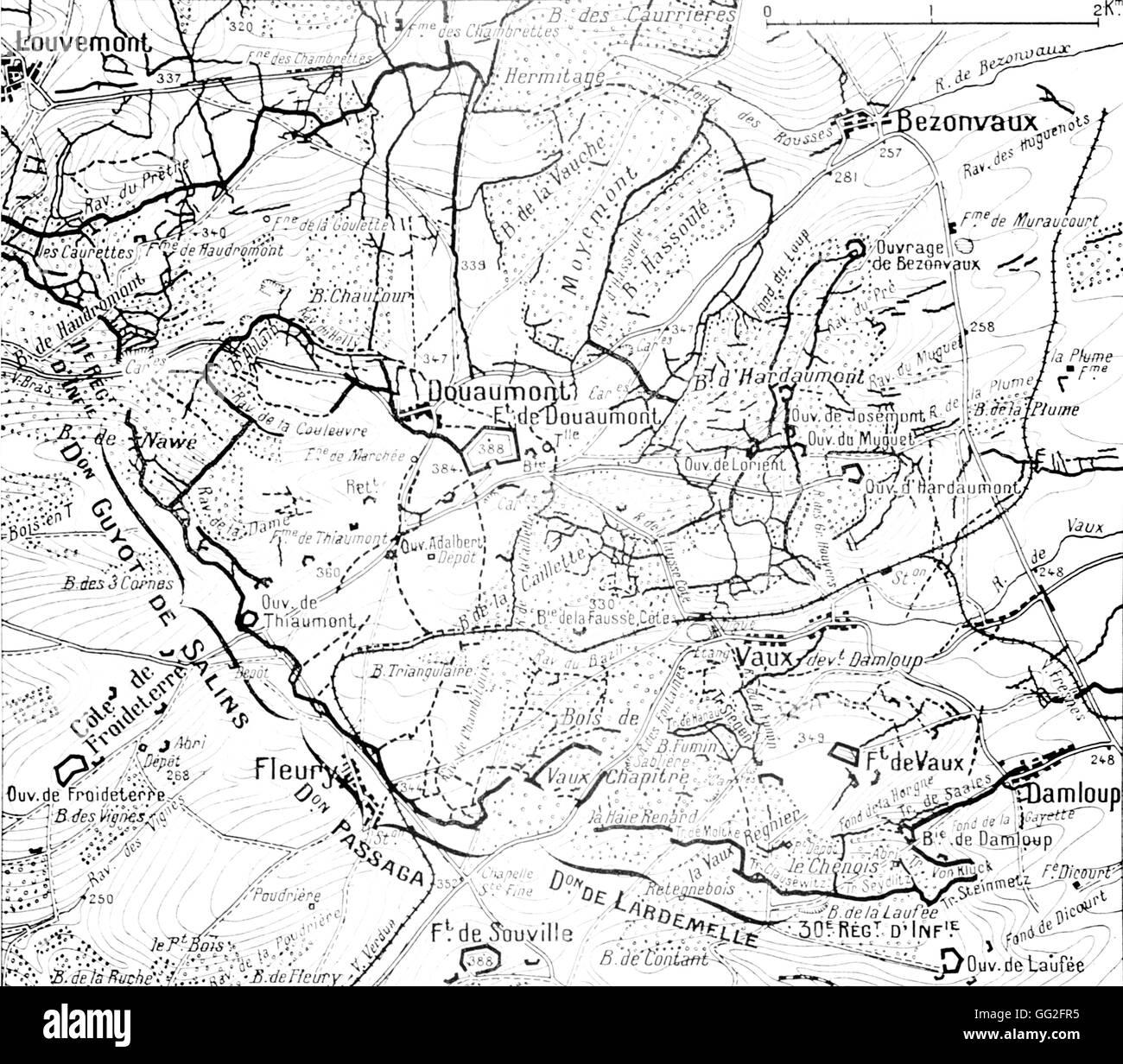 Batalla De Verdun Mapa.La Primera Guerra Mundial Mapa De Posiciones En El Momento
