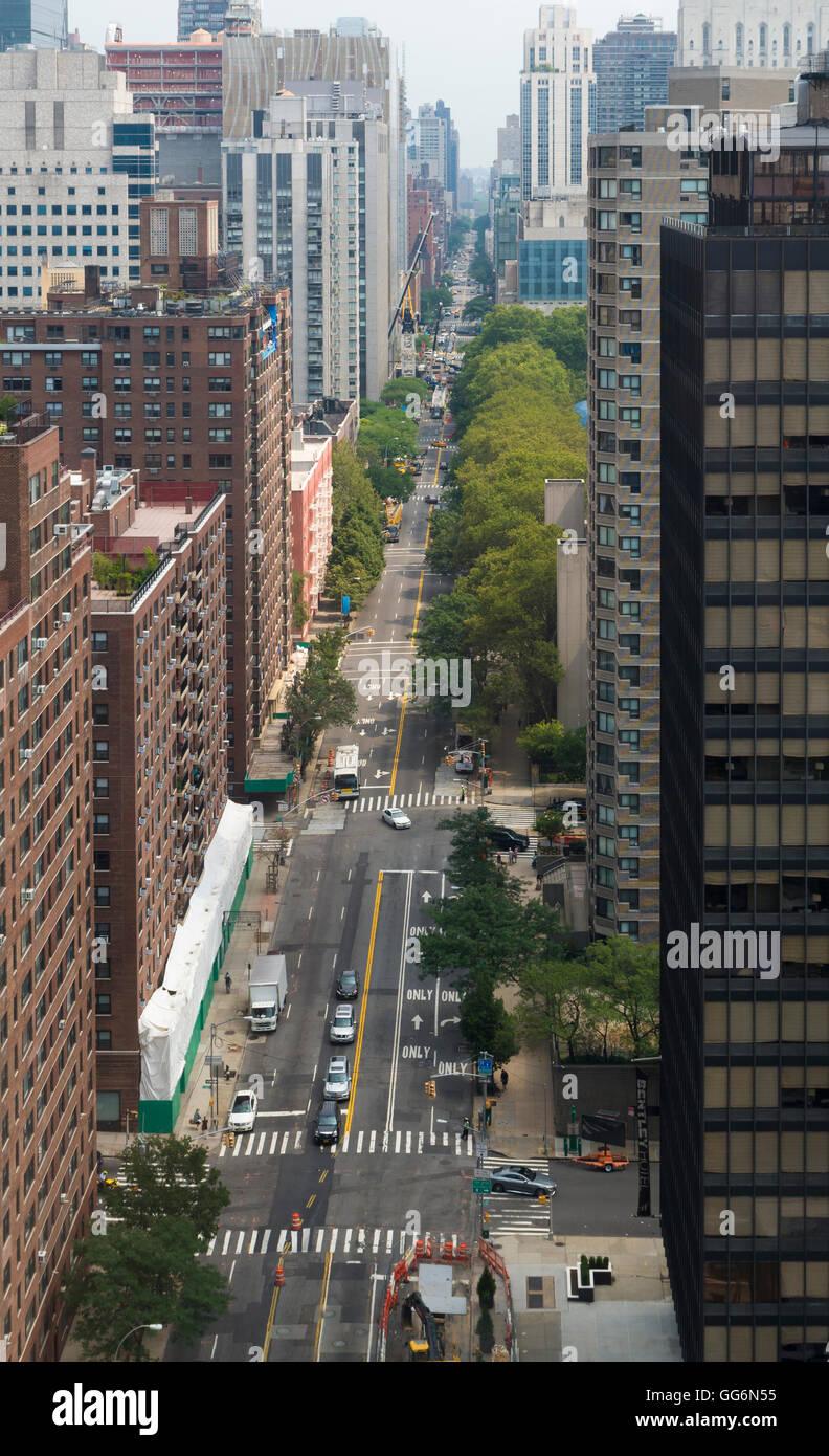 Vista aérea de York Avenue en Manhattan, Nueva York Imagen De Stock