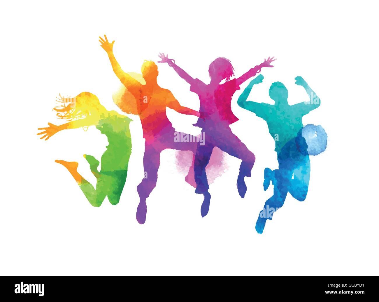 Un grupo de amigos saltando expresar felicidad. Acuarela ilustración vectorial. Imagen De Stock