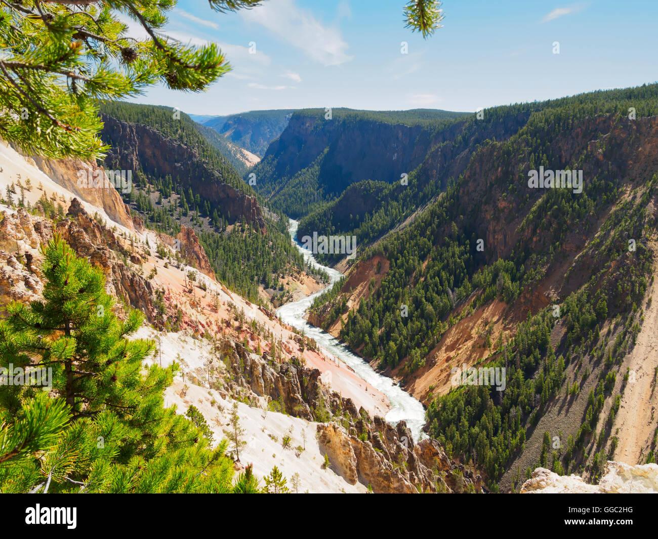 Desde el punto de inspiración del río Yellowstone, el Parque Nacional de Yellowstone Foto de stock