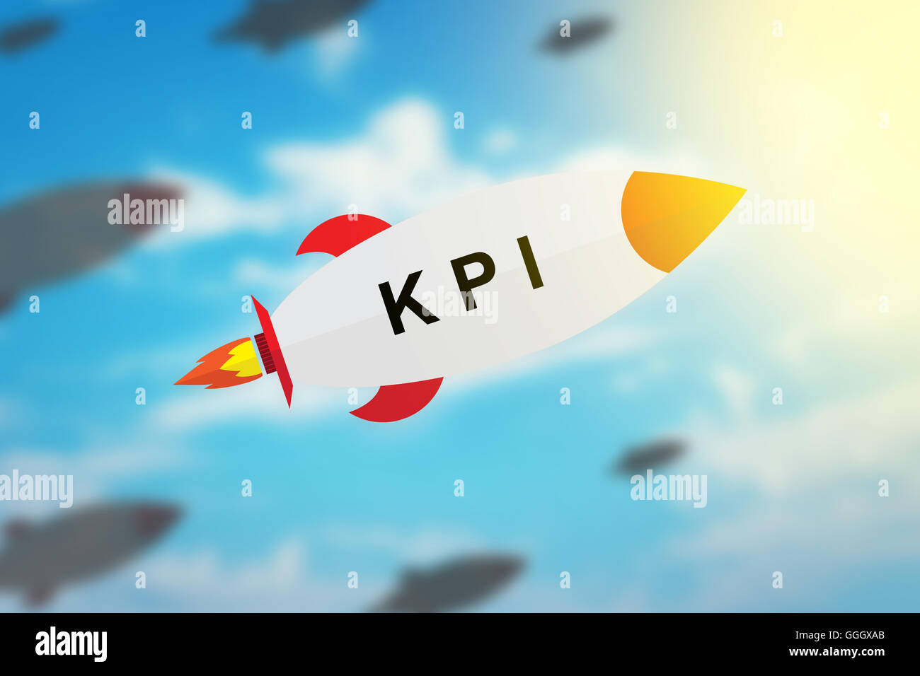 Grupo de KPI o Key Performance Indicator diseño plano cohete con fondo borroso y efecto de luz suave Foto de stock