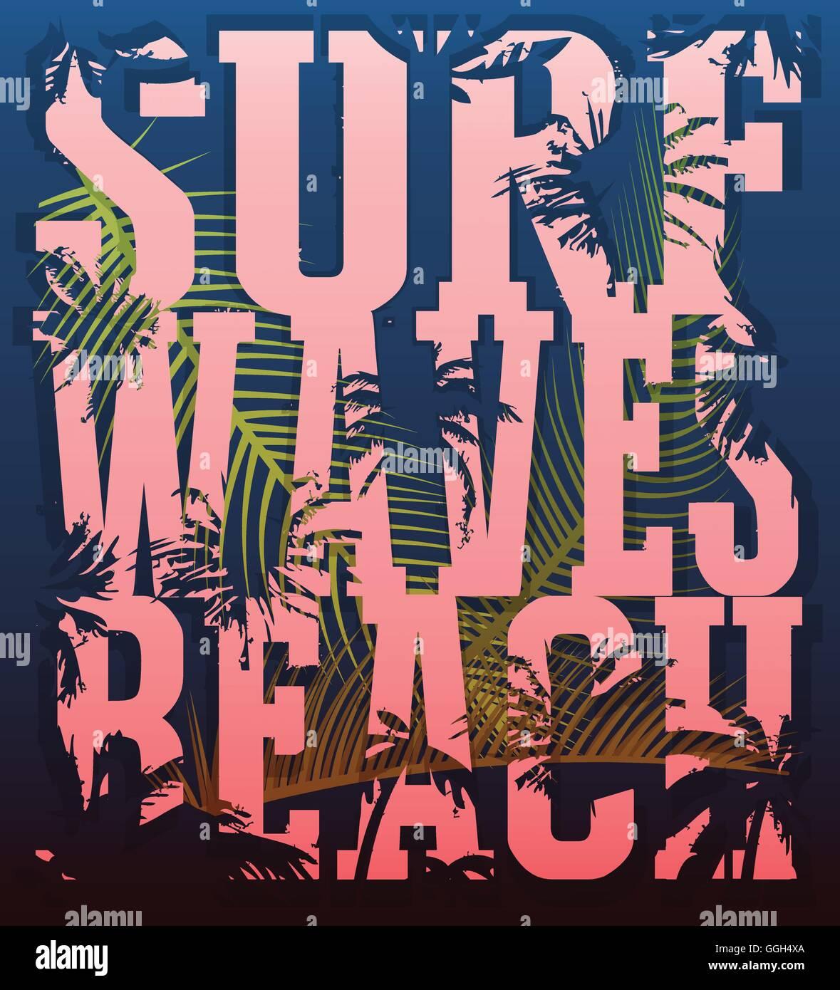 4bcfe0e65316b Ilustración vectorial sobre el tema del surf y el surf. Grunge  antecedentes. Tipografía
