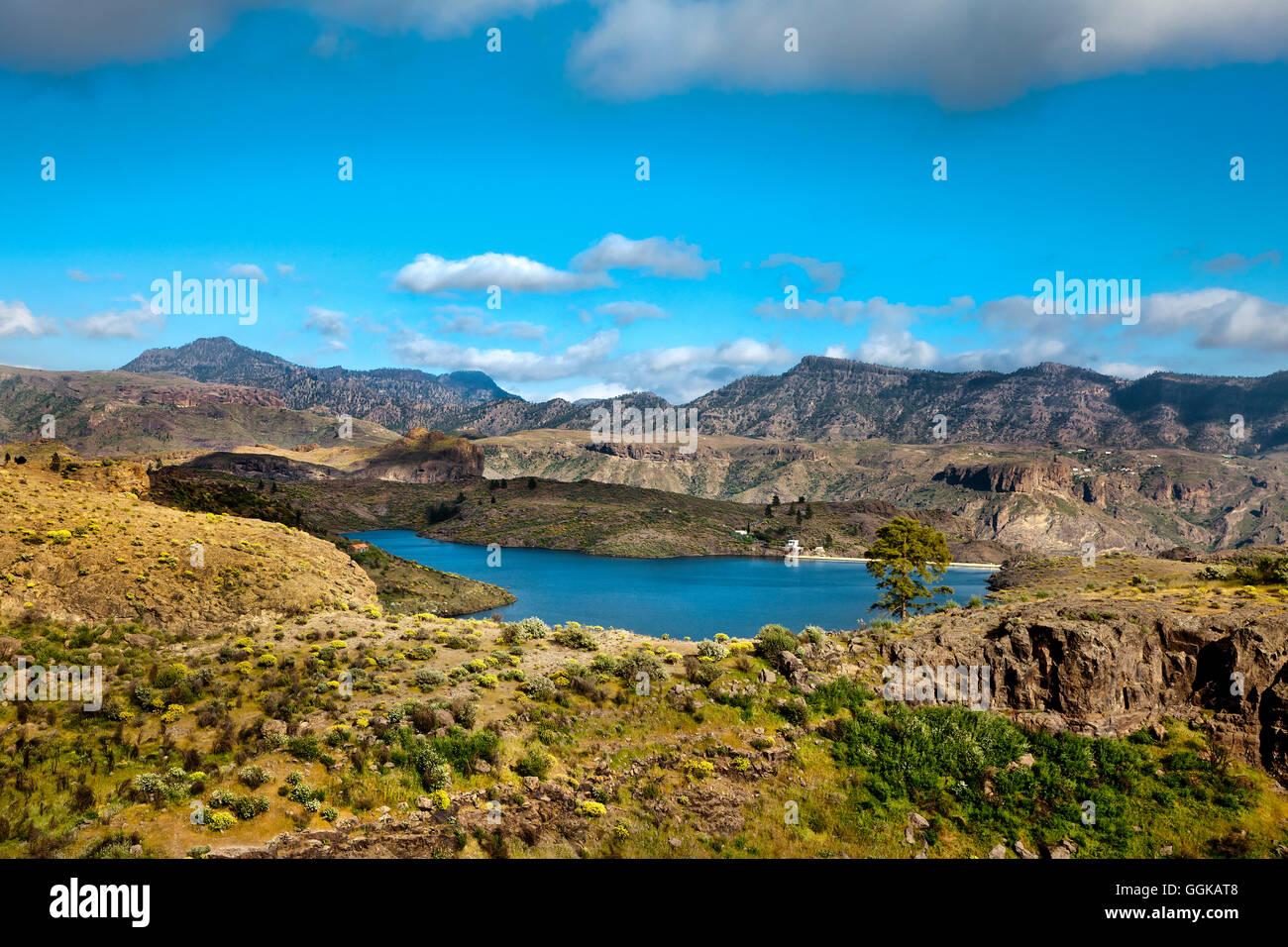 Depósito de agua, presa de las ninas, Gran Canaria, Islas Canarias, España Imagen De Stock