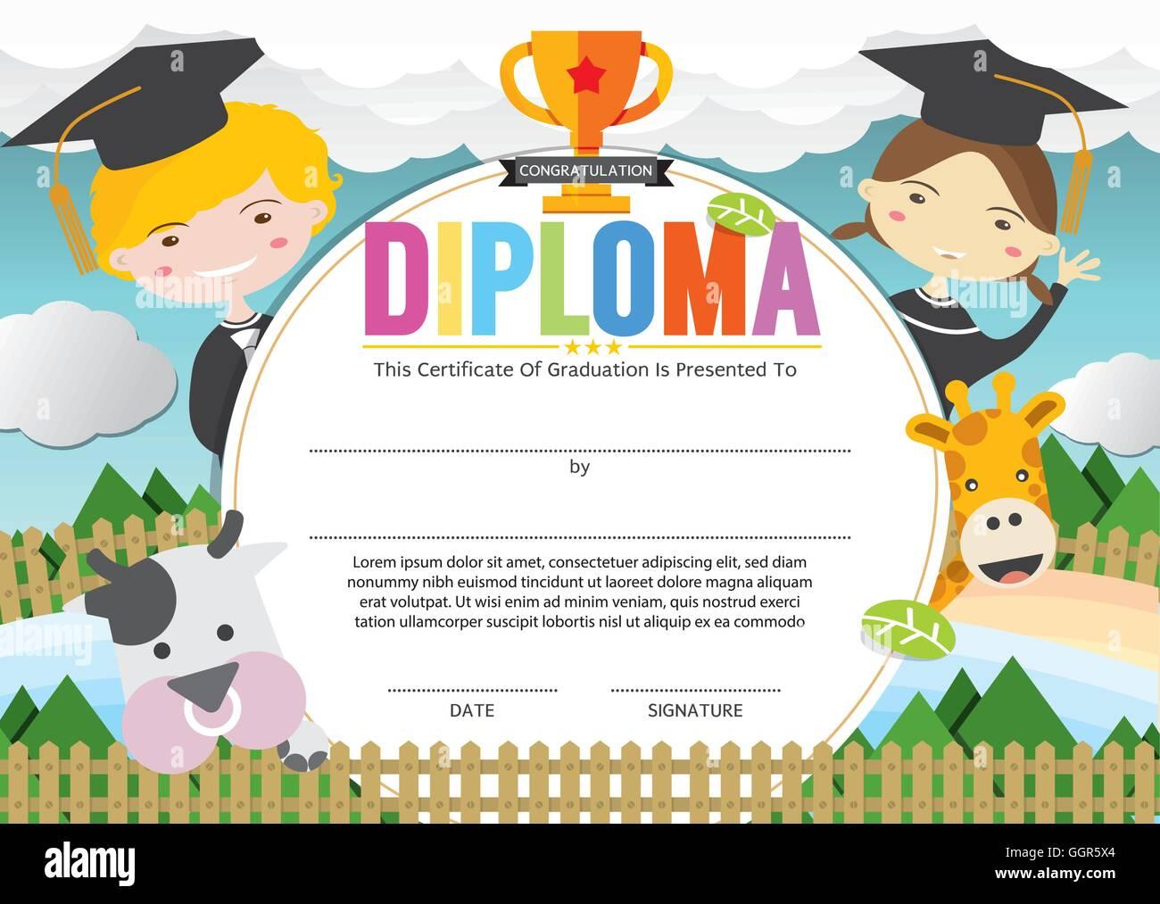 Plantilla de certificado de diploma para niños ilustración vectorial ...