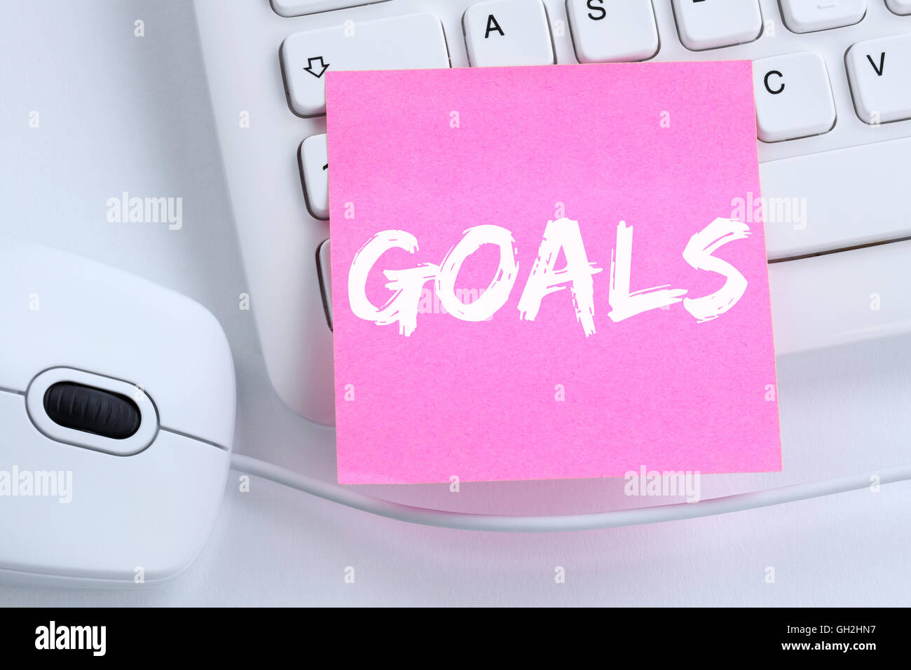 Objetivo metas a aspiraciones de éxito y crecimiento concepto empresarial office teclado de ordenador Imagen De Stock