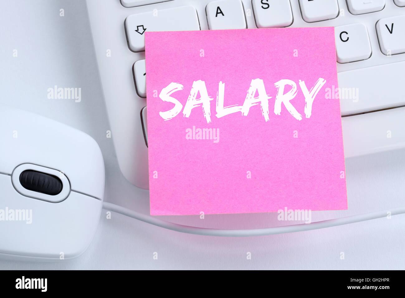 Aumento de sueldo negociación salarial dinero finanzas concepto de negocio oficina teclado de ordenador Imagen De Stock