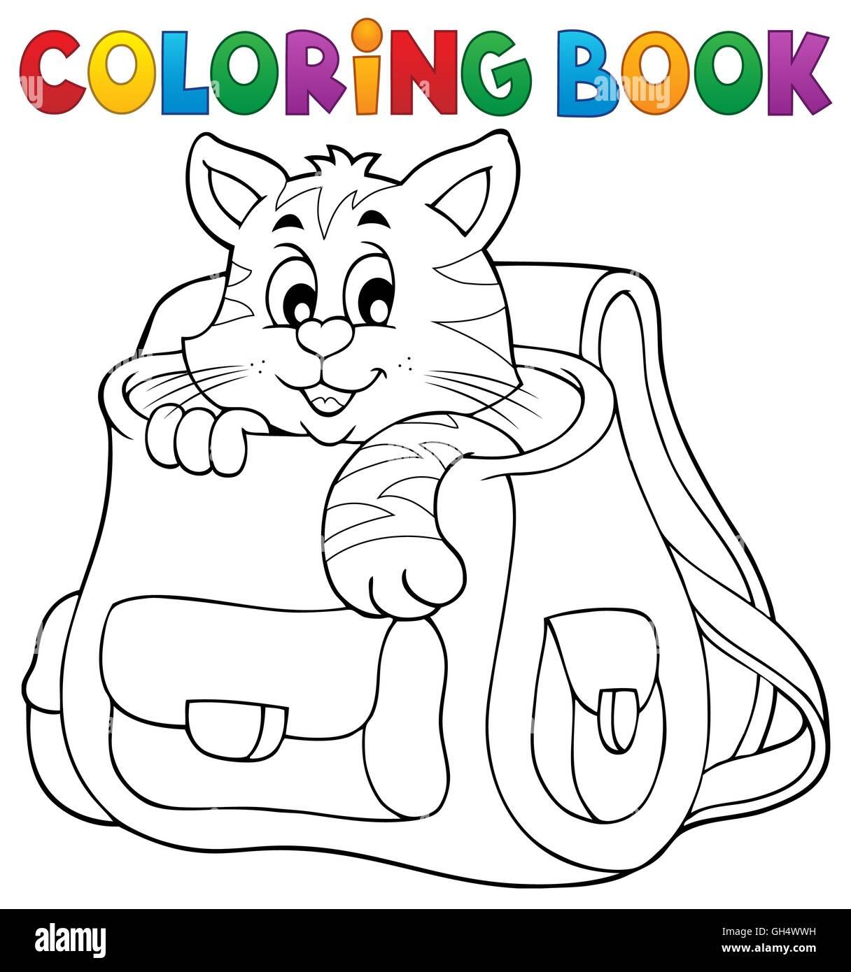 Libro Para Colorear De Gato En Mochilas Escolares Ilustración