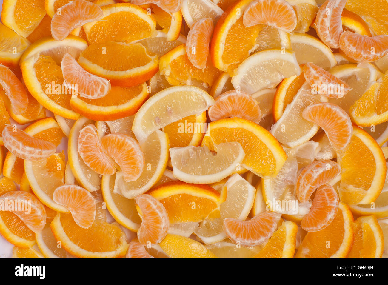 Fondos de frutas: Naranja, Limón y mandarina Imagen De Stock