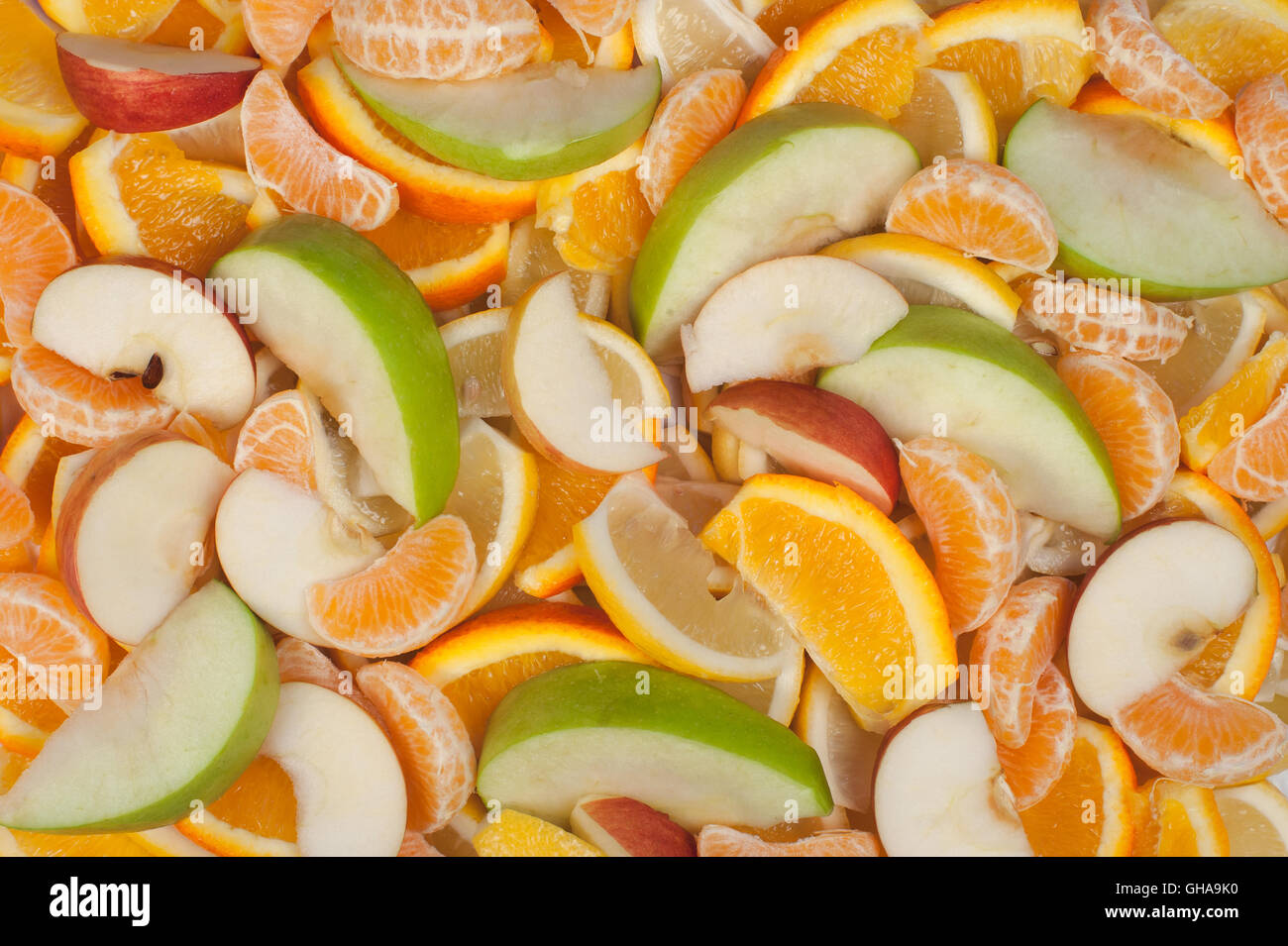 Fondos de frutas - Limón Mandarina Naranja y Apple Imagen De Stock