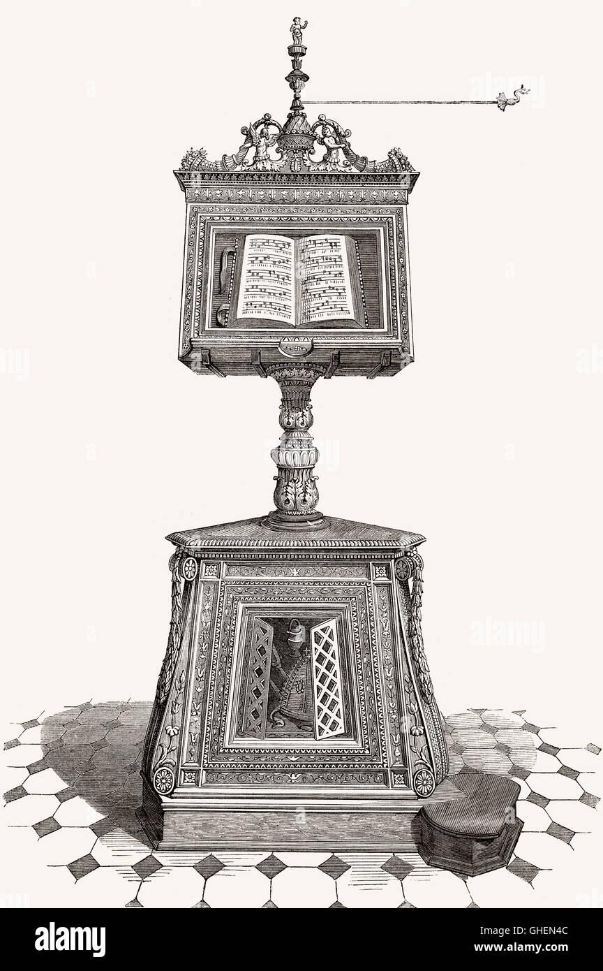 Un atril, una mesa de lectura, Santa Maria en Organo, la Iglesia Católica Romana en Verona, en el norte de Imagen De Stock
