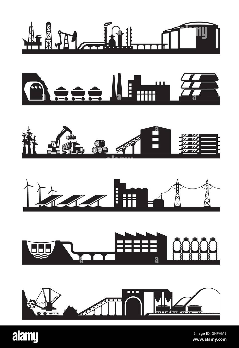 Extracción y procesamiento de recursos naturales - ilustración vectorial Imagen De Stock