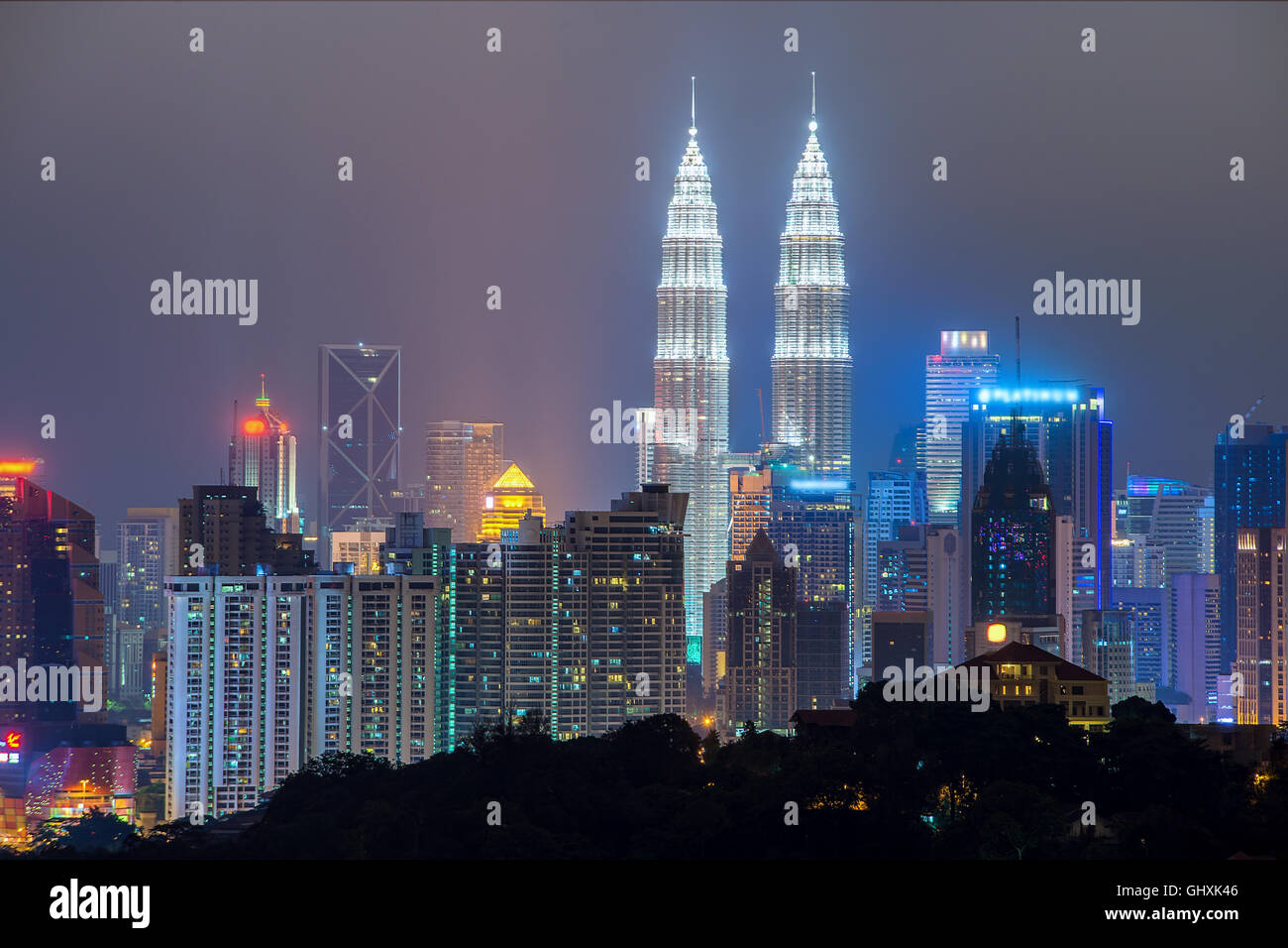 En la noche de Kuala Lumpur, Kuala Lumpur, Malasia Imagen De Stock