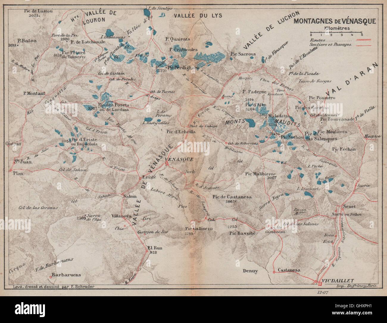 Mapa De Los Pirineos.Valle De Benasque Montagnes De Venasca Vintage Mapa De