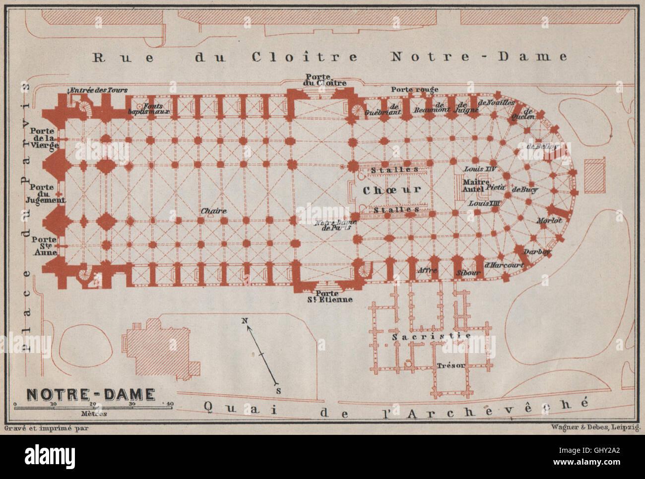 Catedral Cathédrale Notre Dame De París Floor Plan Carte Baedeker 1910 Mapa Fotografía De Stock Alamy