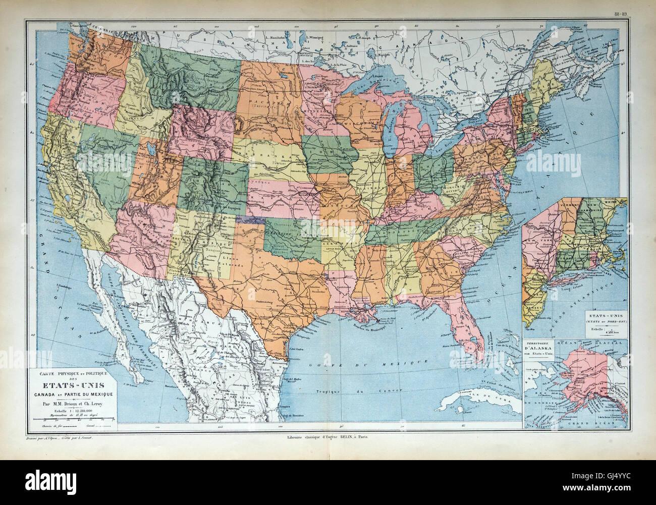 Mapa Antiguo De 1883 América Ee Uu Ee Uu Estados Unidos Fotografía De Stock Alamy
