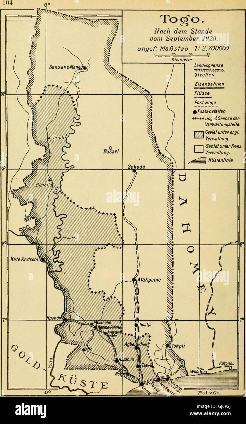 Die postwertzeichen und der deutschen postanstalten entwertungen in den schutzgebieten und im auslande (1921) Foto de stock