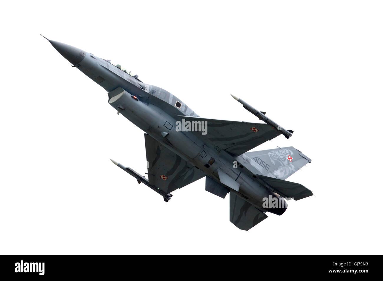 La Fuerza Aérea polaca F-16C combates Falcon en RIAT 2016, Royal International Air Tattoo Foto de stock