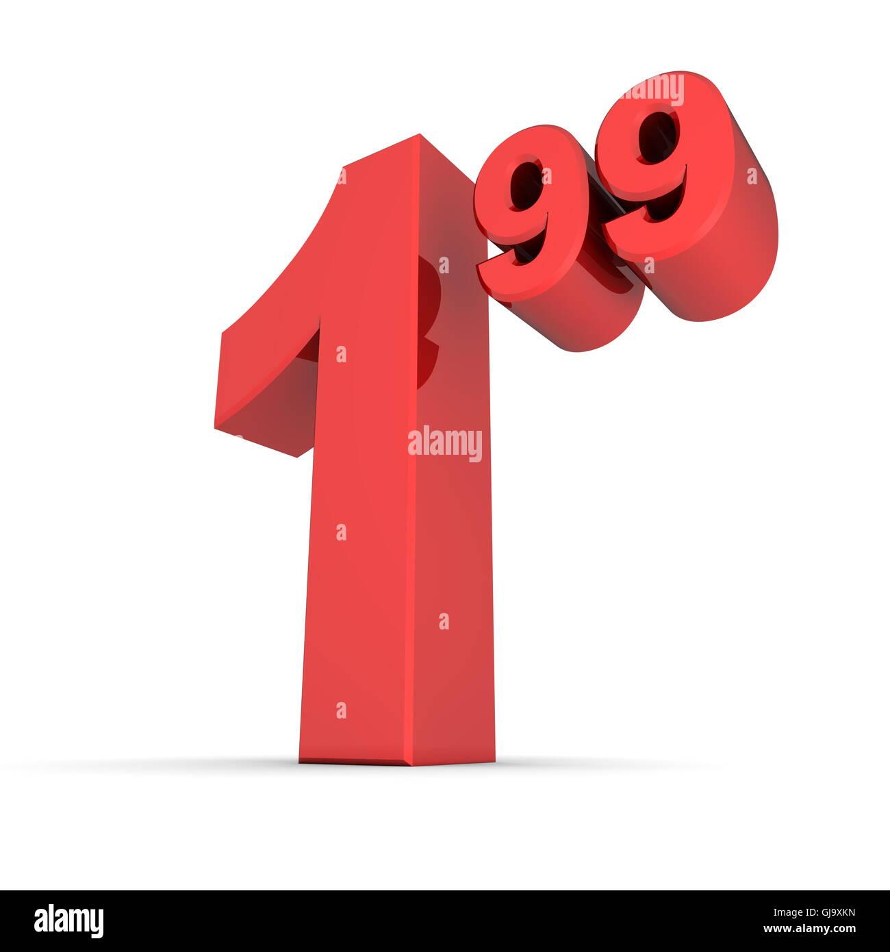 Número de etiqueta de precio sólido 1.99 - Rojo brillante Imagen De Stock