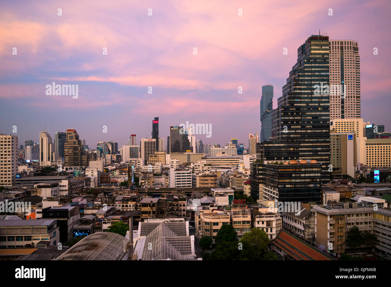 Sunset Bangkok, Tailandia, descripción Foto de stock