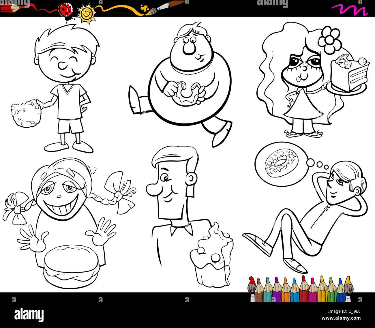Dulces y niños juego de páginas para colorear Ilustración del Vector ...